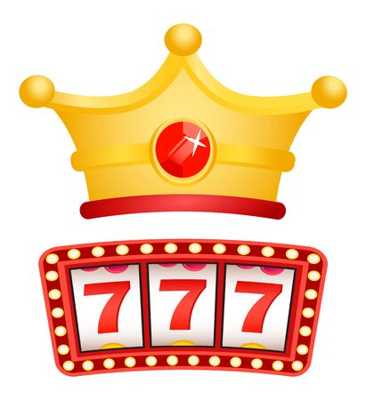 Slot machine results, triple sevens and royal crown flat style. Gambling and winning money for luck and chance. Bingo and victory, crown with gem. Vector illustration in flat cartoon style 일러스트