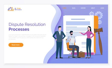 Dispute resolution processes, documents and gavel. Man and woman solving problems, partners reconciliation, lawyer online, rights and notes vector. Webpage or website template, landing page flat style