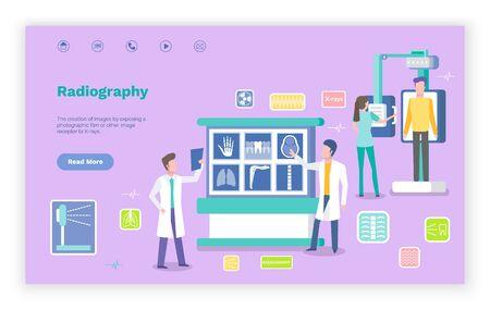 Aide à la radiographie pour le vecteur des patients, médecins examinant des parties du corps avec des radiographies. Nouvelles technologies et innovations dans la pratique hospitalière. Modèle de site Web ou de page Web, style plat de page de destination
