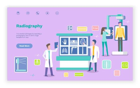 Radiography help for patients vector, doctors examining parts of body with radiographs. New technologies and innovations in hospital practice. Website or webpage template, landing page flat style