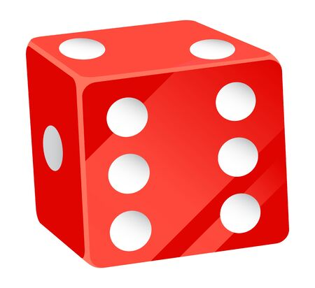 Casino gambling elements, isolated red dice with white dots. Tossing cubes to see result, betting and playing on money in gambler place. Vector illustration in flat cartoon style