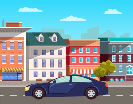 Transportation vehicle, sports car in old town on road. Antique buildings with windows and entrances, apartments and vintage city decoration. Vector illustration in flat cartoon style Illustration