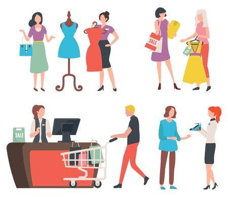 People shopping, isolated cashier counter and client with trolley and purchases. Fashion advisor and customer, dress on mannequin, shoes offer. Vector illustration in flat cartoon style