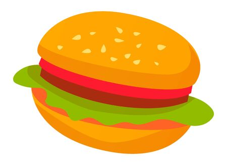 Fast food sign, isolated burger icon. Bun with sesame and lettuce salad leaves and tomato, meat and stuffing. Tasty filling meal snack. Vector illustration in flat cartoon style