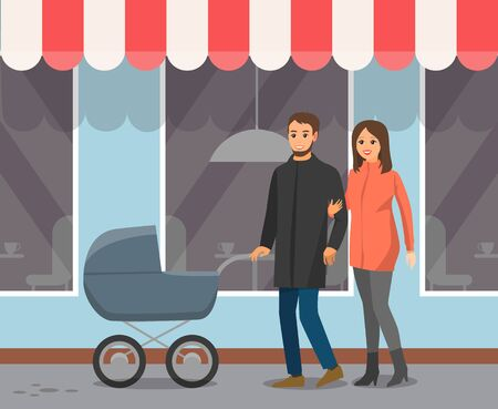 Cafe windows and tent, couple with baby carriage walk in downtown. Mother and father with baby in pram and cafeteria exterior, city street. Vector illustration in flat cartoon style Illustration