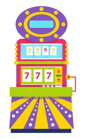 Gambling playing on money bets, isolated slot machine showing triple sevens. Lucky number, winner success of gambler. Lottery and bingo symbol. Vector illustration in flat cartoon style Иллюстрация