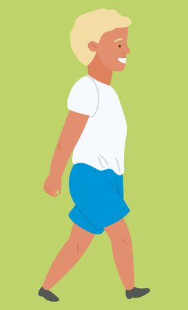 Summer and nature, boy child walking on grass. Kid in t-shirt and shorts outdoors, countryside or farmland, male character on meadow, suburbs. Vector illustration in flat cartoon style