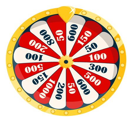 Winning money by gambling, isolated roulette with segments and options. Wheel with colored choices and numbers gamblers success. Vector illustration in flat cartoon style