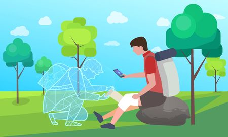 Medical worker online helping hiking man, person with injured knee in forest. Patient with smartphone help online first aid consultation. Holographic projection of doctor. Landscape with greenery flat