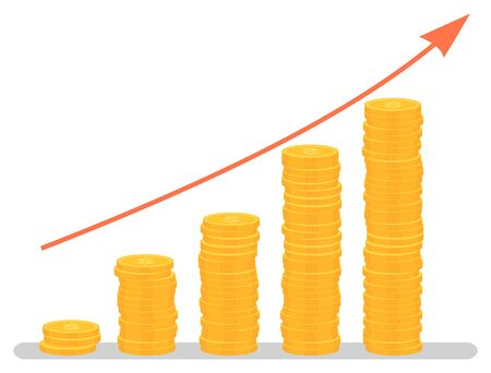 Profit increase graph, investment growth graphic. Coins stack and arrow, business and finance, development chart, banking and economy, statistics. Vector illustration in flat cartoon style  イラスト・ベクター素材