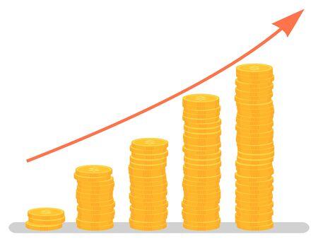 Winststijgingsgrafiek, grafische investeringsgroei. Muntenstapel en pijl, zaken en financiën, ontwikkelingsgrafiek, bankwezen en economie, statistieken. Vectorillustratie in platte cartoonstijl