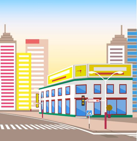 Town with buildings and empty street, 3d look of city road and houses. Sunshine cityscape. Skyline, crossroad with zebra. Cityscape with houses facades. Ubran landscape. Shop at corner of intersection