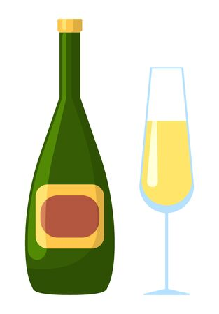 Alcoholic beverage vector, isolated bottle of champagne accompanied with glass. Container with alcohol, celebration of event, cold drink with bubbles