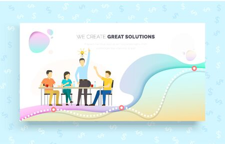 We create great solutions vector, people on meeting, boss with idea for business. Man and woman sitting by table, finance and dollar currency brainstorming