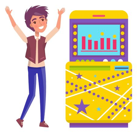 Gambling machine and happy man vector, isolated teenager raising hands up of success. Screen showing bets and infocharts, jackpot in casino flat style 向量圖像