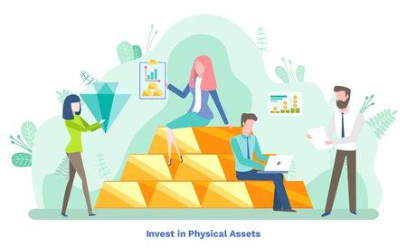 Invierta en activos físicos, preciosos y ahorros de diamantes. Hombre y mujer consultoría y contabilidad, tecnología financiera, ingresos de la empresa, vector de informe gráfico Ilustración de vector