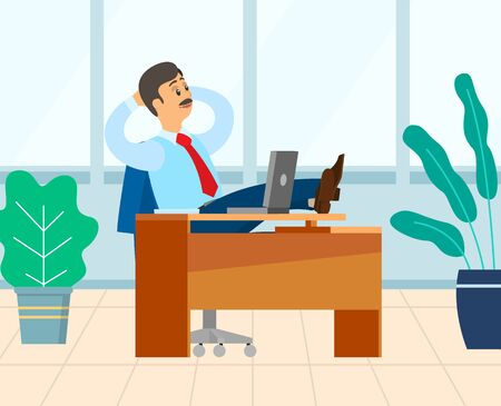 Employer sitting in his office vector, male relaxing on table. Workplace with computer and decoration, male wearing formal clothes having coffee break