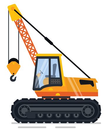 Crane machinery used in building process vector, industrial machine with hook lifting items and transporting heavy objects. Transport mover lifter Illustration