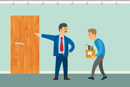 Dismissal of worker vector poster. Boss chuck out clerk employee with box full of personal things pointing by hand on door, office interior design