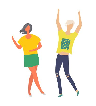 Man and woman dancers at disco club, happy people in dance isolated on white, cartoon style. Vector girlfriend and boyfriend in yellow t-shirts, casual cloth Standard-Bild - 132760381