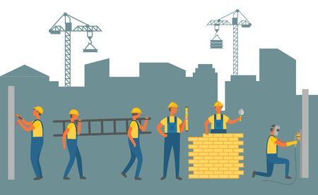 People working on construction of new infrastructure vector, man with ladder. Person building wall with bricks, workman wearing uniform. Crane lifter