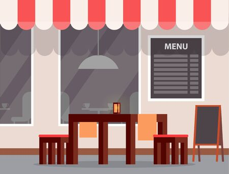 Cafe or restaurant exterior, outdoor table and chairs, menu sign vector. Wooden furniture for cafeteria, striped tent and lamp, front wall or facade