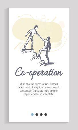 Coopération des partenaires vectoriels, travailleurs s'entraidant dans les difficultés, homme d'affaires sur les marches donnant la main à un collègue en position inférieure. Modèle de curseur de site Web ou d'application, style plat de page de destination