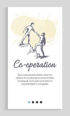 Cooperation of partners vector, workers helping in each other in hardships, businessman on steps giving hand to colleague on lower position. Website or app slider template, landing page flat style Ilustração