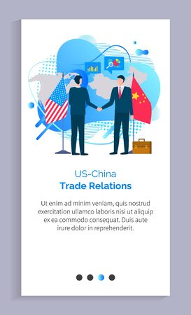 China and US business relations vector, people at meeting shaking hands, flags of countries, representatives wearing suits and formalwear. Website or app slider template, landing page flat style Ilustração