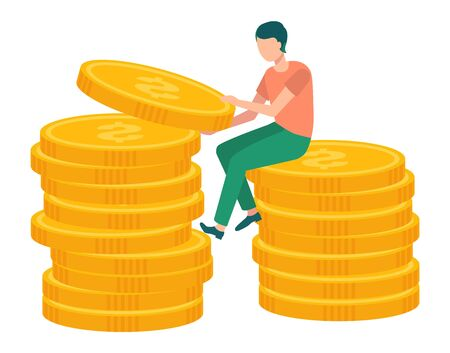 Attraction and accumulation of capital concept, man sitting on pile or stack of golden coins. Isolated guy with gold money, cash and investment. Vector illustration in flat cartoon style