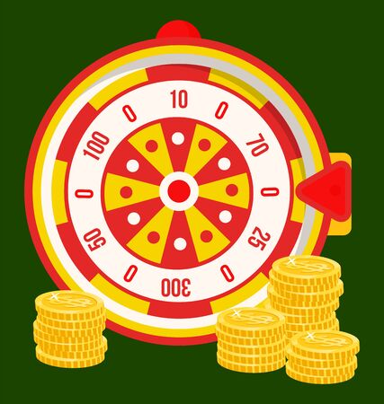 Gambling games, isolated roulette with bets and money amounts. Prize in casino, gamblers luck, fortune wheel with pointer and coins. Vector illustration in flat cartoon style Иллюстрация