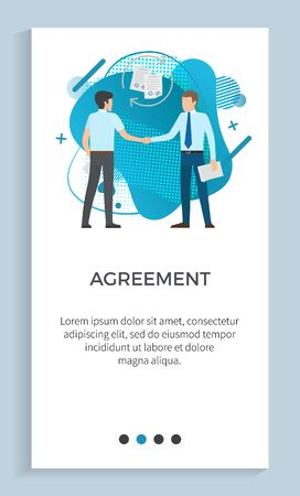 Agreement vector, male wearing suits formal wear serious men with briefcases on meeting. Conference of people in business, handshake of colleagues. Website or app slider, landing page flat style Ilustração