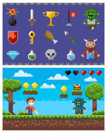 Pixel game landscape scene vector, isolated set of icons, bomb and sword, viking and zombie, flag and elixir in bottle, key and shield. Scene of battle in pixelated game. Pixel objects for video-game