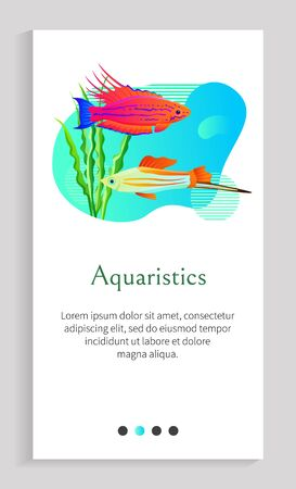 Aquaristics vector, fish in sea water swimming along stones with foliage of green seaweed and flora of underwater, aquarium with decoration. Website or app slider template, landing page flat style Иллюстрация