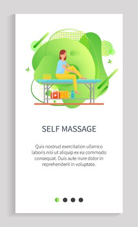 Self massage vector, lady massaging her feet and ankles with help of lotions and oils, table for clients, therapy in spa salon relaxing rubbing. Website or app slider template, landing page flat style