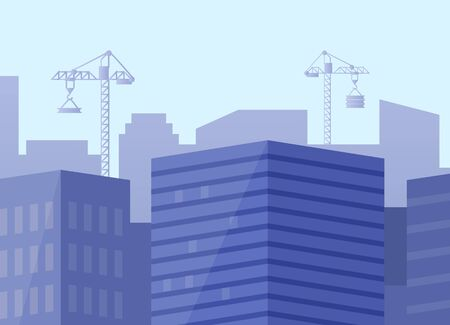 Construction of new buildings in city, blue cityscape with modern estates and skyscrapers, cranes transporting heavy materials for megapolis. Vector illustration in flat cartoon style