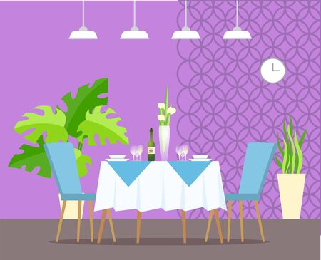 Elegant interior of restaurant. Romantic atmosphere of place, monstera plant in pot, ornamental wall and clock. Vase on desk and champagne. Vector illustration in flat cartoon style