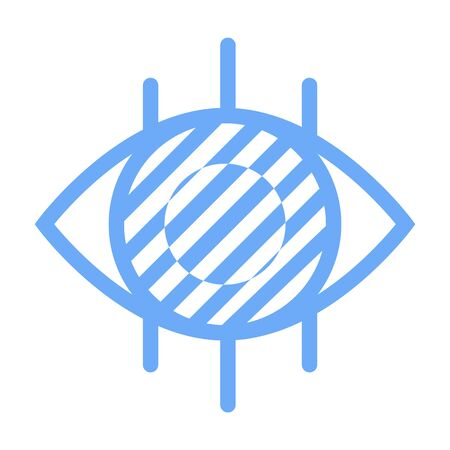 Ophthalmology logotype, medical symbol, shape of eye, lines or stripes on white. Clinic or laboratory label in flat design style, eyesight icon. Vector illustration in flat cartoon style Logo