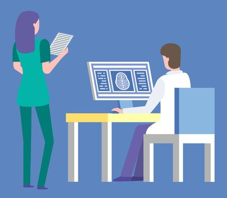 Clinic isolated doctor and nurse. Assistant reading xray scan on paper, male wearing white coat, doc by table with computer and information. Vector illustration in flat cartoon style Zdjęcie Seryjne - 132763827