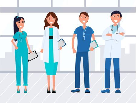 Team of young healthcare workers and doctors wearing medical uniform and stethoscope. Hospital, nursing staff or team of physicians. Vector illustration in flat cartoon style Ilustração