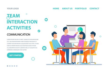 Team interaction activities vector, man and woman sitting by table discussion and brainstorming. Conference and seminar, presentation whiteboard. Website or webpage template, landing page flat style Illusztráció