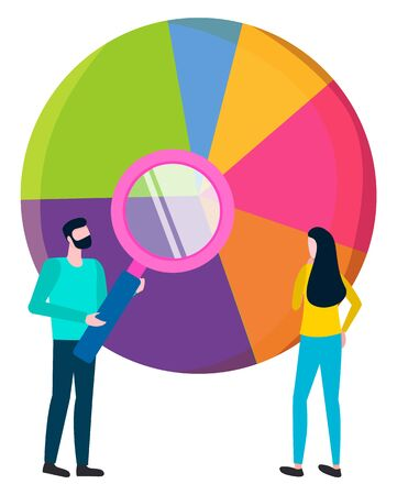 Workers analyzing information results represented in diagram with segments. Brainstorming man and woman holding zooming magnifying glass to see more. Vector illustration in flat cartoon style
