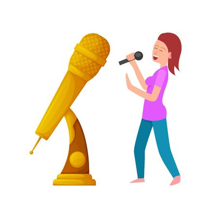 Gold prize for best performer, woman with mike singing and dancing. Performance of lady with microphone and award for live concert contest. Vector illustration in flat cartoon style