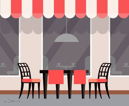 Cafe with exterior design, table with chairs and tablecloth. Window of restaurant, outdoors furniture terrasse for eating outside, street view. Vector illustration in flat cartoon style