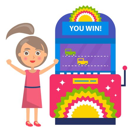 You win race, winner woman playing game machine. Female with rising hands standing near colorful gambling equipment, joystick with screen and player. Vector illustration in flat cartoon style