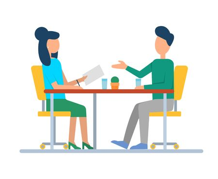 Man and woman discussing job, people sitting at table, cups and plant. Teamwork strategy, colleagues side view cooperation together, workplace. Vector illustration in flat cartoon style Ilustração