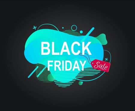 Black friday vector, isolated promotional banner with sale and discounts for clients, mega sellout of goods, advertising of products, modern abstract. Stiker for black friday sale