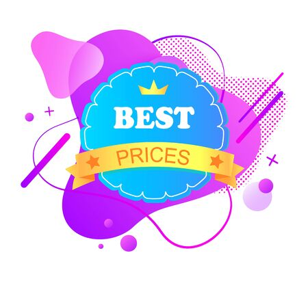 Sales and reduction off price, isolated banner with crown and stripe with stars, royal offer from shop, proposition and clearance on market. Vector illustration in flat cartoon style