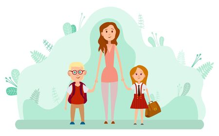 Mother and two happy kids with backpacks isolated on backdrop with green leaves. Back to school, children come to study in kindergarten or elementary. Vector illustration in flat cartoon style