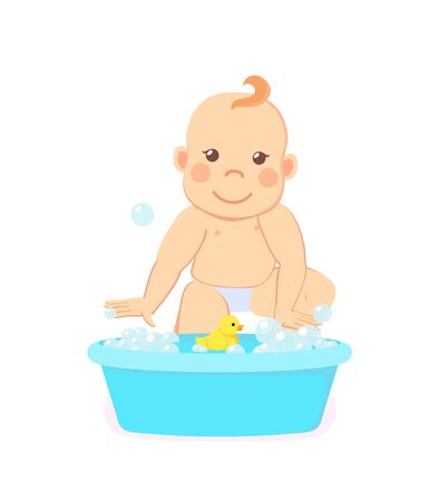 Infant bathing in basin with water isolated new born child. Baby milestones, toddler from 6 to 12 take a bath with rubber yellow duck. Vector illustration in flat cartoon style 向量圖像